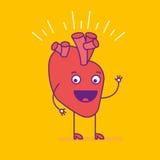 Logotype de sourire heureux de coeur Logo gai de personnage de dessin animé dedans illustration stock