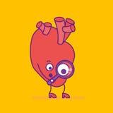 Logotype de sourire heureux de coeur Logo gai de personnage de dessin animé dedans illustration libre de droits