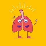 Logotype de sourire heureux de poumons Logo gai de personnage de dessin animé dedans illustration stock