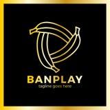 Logotype de trois de bananes medias de jeu Photographie stock libre de droits