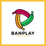 Logotype de trois de bananes medias de jeu Image stock