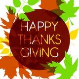 Logotype, distintivo ed icona felici di giorno di ringraziamento di stile di progettazione dell'acquerello Modello felice di logo Fotografia Stock Libera da Diritti