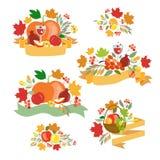 Logotype do dia da ação de graças, crachá e grupo felizes do ícone Fotografia de Stock Royalty Free