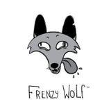 Logotype do estilo dos desenhos animados do lobo da agitação Imagem de Stock
