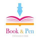 logotype do livro e da pena Imagem de Stock Royalty Free