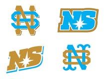 Logotype do monograma da letra S e do N emblema Fotografia de Stock Royalty Free