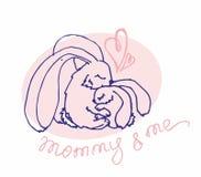 Logotype do vetor com animais Mamã e mim ilustração stock