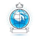 Logotype do vetor do tema do frescor do oceano Propaganda do dia da ?gua ilustração stock