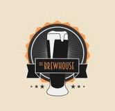 Logotype do vintage da casa da fermentação no fundo claro Imagem de Stock