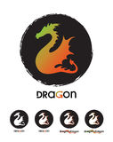 Logotype Dragon Template Set. Tamplate Set of Logotypes. Dragon on a black circle Stock Photos