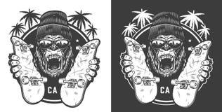Logotype faisant de la planche à roulettes d'été de cru illustration stock