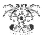 Logotype faisant de la planche à roulettes de vintage illustration de vecteur