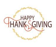 Logotype felice di giorno di ringraziamento, distintivo Fotografie Stock Libere da Diritti