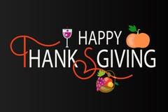 Logotype felice di giorno di ringraziamento, distintivo Fotografia Stock Libera da Diritti