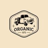 Logotype fresco della retro azienda agricola di vettore Distintivo organico dei prodotti di qualità Segno dell'alimento di Eco La illustrazione vettoriale