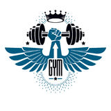 Logotype for heavyweight gym or fitness sport gymnasium, winged Royalty Free Stock Photography
