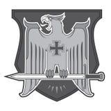 Logotype heráldico de Eagle com protetor e espada Imagem de Stock Royalty Free