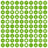 100 logotype icons hexagon green. 100 logotype icons set in green hexagon isolated vector illustration Royalty Free Stock Image