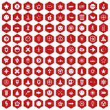 100 logotype icons hexagon red. 100 logotype icons set in red hexagon isolated vector illustration Stock Image
