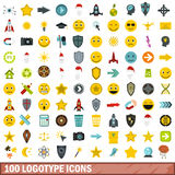 100 logotype icons set, flat style. 100 logotype icons set in flat style for any design vector illustration Royalty Free Stock Image