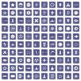 100 logotype icons set grunge sapphire. 100 logotype icons set in grunge style sapphire color isolated on white background vector illustration Royalty Free Stock Images