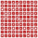 100 logotype icons set grunge red. 100 logotype icons set in grunge style red color isolated on white background vector illustration Stock Image