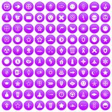 100 logotype icons set purple. 100 logotype icons set in purple circle isolated vector illustration Stock Illustration