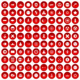 100 logotype icons set red. 100 logotype icons set in red circle isolated on white vectr illustration Royalty Free Stock Photos