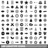 100 logotype icons set, simple style. 100 logotype icons set in simple style for any design vector illustration Stock Images