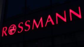 Logotype illuminato di ROSSMANN fotografia stock