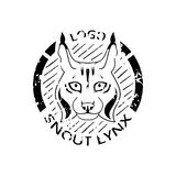 Logotype with lynx. Logotype with vintage lynx. Grunge black label, graphic picture, icon in circle. Face wild cat vector illustration