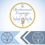 Logotype mock up for seafood restaurant and raw bar. Vector graphic design. with fish and oyster and rope. Stock Images