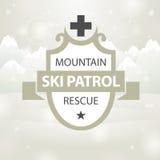 Logotype mountain ski patrol rescue Royalty Free Stock Images
