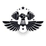 Logotype per la palestra pesante di sport di forma fisica o della palestra, alato Immagini Stock Libere da Diritti