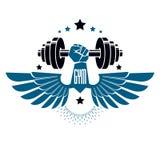 Logotype per la palestra pesante di sport di forma fisica o della palestra, alato Immagine Stock Libera da Diritti