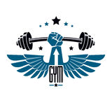 Logotype per la palestra pesante di sport di forma fisica o della palestra, alato Fotografia Stock