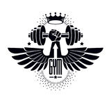 Logotype per la palestra pesante di sport di forma fisica o della palestra, alato illustrazione vettoriale