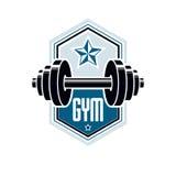 Logotype per la palestra pesante di sport di forma fisica o della palestra, annata Fotografie Stock