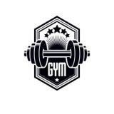 Logotype per la palestra pesante di sport di forma fisica o della palestra, annata Immagine Stock