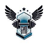 Logotype per la palestra pesante di sport di forma fisica o della palestra, retro emblema stilizzato alato o distintivo di vettor royalty illustrazione gratis