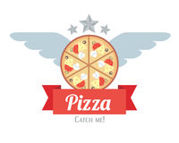 Logotype of pizza with wings Stock Photos