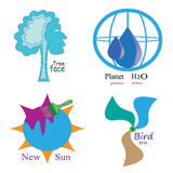 Logotype planet tree sun bird. Planet water tree face new sun bird trio logotype Royalty Free Stock Photos