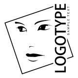 Logotype with portrait of a beautiful girl. Line drawing Vector Illustration