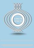 Logotype redondo metálico de prata na luz - fundo azul, linhas horizontais Fotografia de Stock Royalty Free