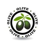 Logotype rond simple avec le symbole olive Photos stock