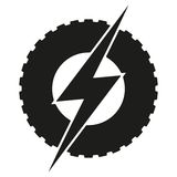 Logotype round wheel with lightning. Eco electric Royalty Free Stock Photography