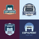 Logotype set. Et of vector logotypes with printer. Gray scale copy and print labels collection Stock Photos
