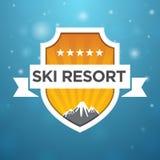 Logotype ski resort five star. On blue background Royalty Free Stock Photo