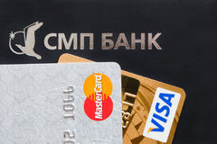 Logotype of SMP bank and Visa and Mastercard Stock Photos