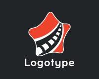 Logotype transport.Logo road and star. Logotype transportation, road in red color. Road maintenance. Logo road repair Stock Image